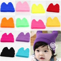 Wholesale Wholesale Baby Wool Hats - I Love Mama Hat Baby Props Ox Horn Knitted Wool Hats Boys Girls Warm Beanies Caps 1-9Y