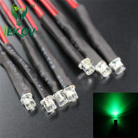 Wholesale Led Dc Bulbs For Sale - 100pcs 3mm Flat Top 12V DC 20cm Pre-Wired Resistor Green LED Wide Angle Light Bulb Emitting Diodes For Car Toy DIY HOT SALE