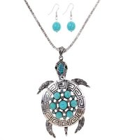 Wholesale Blue Copper Turquoise Earrings - 2016 NEW Silver Plated Tortoise Flower Round Turquoise Blue Crystal Pendant Earrings Necklace Set (Color: Green)
