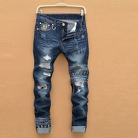 Wholesale Fashion Foot Wear - famous brand men fashion new holes in jeans male ripped jeans version Slim Straight cal baggy pants worn pants feet skinny