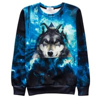 Wholesale Wolf Print Hoodies - New Raisevern Animal Design Sweatshirt 3D Wolf In Blue Sea HD Pattern Print Hoodies 3d Men Women Crewneck Pullovers Hoody