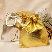 Wholesale Satin Jewelry Packaging Wholesale - New Fashion Gold Silver Plated Gauze Satin Jewelry Bags Jewelry Gift Pouches Bag Package 5x7cm 7x9cm 9x12cm