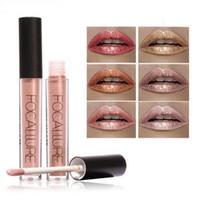 Wholesale Lip Glitter Wholesale - Hot Brand FOCALLURE Metallic Lipstick Waterproof Makeup Batom Long Lasting Glitter Lipgloss Matte Metal Lipstick Liquid Lip Tint