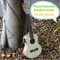 Wholesale Acoustic Dreadnought Guitar Rosewood - Soprano Concert Tenor Acoustic Electric Ukulele 21 23 26 Inch Mini Guitar Ukelele Guitarra Picea Asperata Zebra Wood Plug-in Uke