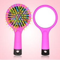 Wholesale Salon Wholesale Korea - HOT Fashion Rainbow Color comb Korea Style Magic Hair Comb Paddle Brush with Mirror hair Brush Hair Salon Comb good for use