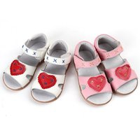 Wholesale Tpr Sole Sandals - Hot Toddler Little Girls' Sandals Genuine Leather Heart&X Design Open Toed Beathable Soft TPR Sole Anti-slip Anti-friction