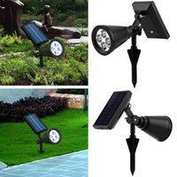 bahçe spot aydınlatma toptan satış-Yeni arrvial Güneş Enerjisi 4 Parlak LED Beyaz / Sıcak Beyaz RGB 3 Renk otomatik anahtarı Açık Bahçe Yolu Parkı Çim Lamba Peyzaj Spot Işıkla ...