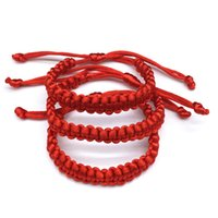Wholesale chinese red bracelet - Free Shipping Lot Of 3pcs New Fashion Chinese Style Adjustable Handmade LARGE Red String Kabbalah Hand Bracelets Lucky Charm Jewelry