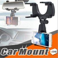 espejo de montaje universal al por mayor-Car Mount Holder Car Rear Mirror Mount Truck Soporte automático Soporte Cradle para iPhone X / 8/8 más dispositivos Samsung GPS / PDA / MP3 / MP4