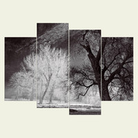 Wholesale Textured Tree Paintings - (No frame)The trees series HD Canvas print 4 pcs Wall Art Oil Painting Textured Abstract Pictures Decor Living Room Decoration