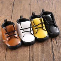Wholesale Wholesale Lace Booties - 4Color 3Size Newborn Baby Kids Boy Girl Prewalker Shoes Footwear Infant Toddler PU Leather Soft Bottom Anti-slip Boots Booties