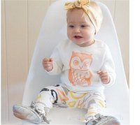 Wholesale Long Sleeve Owl Shirt - 2016 summer Fall baby girl clothing European America kids 6M 12M 18M 1YEAR 2Y 3Y Toddler clothes long sleeve white owl T-shirts pants sets