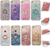 Wholesale Ring Liquid - Bling Bling dynamic Liquid Quicksand Case Ring Holder Shockproof Cases TPU Frame Cover For iPhone 6 6S 7 Plus