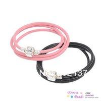 """Wholesale Pink Slap Bracelet - Cowhide Leather European Charm Wrap Bracelets Triple Loop Black & Pink Snap Clasp """"Love""""Carved 51cm(20 1 8""""),2PCs (Z00103)"""