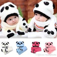 Wholesale Girls Panda Set - Autumn winter children's hat scarf set baby boy girl animal panda hats kids crochet beanie cap velvet ear muff cap