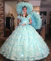 andar de comprimento organza vestido de desfile venda por atacado-Luz do vintage azul vestido de baile quinceanera vestidos 2016 organza ruffles em camadas meninas pageant vestidos até o chão vestidos de baile de formatura