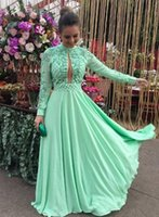 Wholesale Lime Green Long Formal Dresses - Lime Green Long Sleeve Evening Dresses Party Country Floor Length Beads Dubai Kaftan Red Carpet Celebrity Formal Prom Gowns Wear Cheap 2018