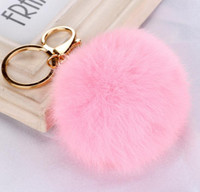Wholesale Wholesale Zinc Plates - Real Rabbit Fur Ball Keychain Soft Fur Ball Lovely Gold Metal Key Chains Ball Pom Poms Plush Keychain Car Keyring Bag Earrings Accessories