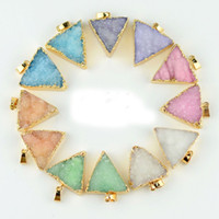 Wholesale Wholesale Druzy Crystal Pendants - Druzy Quartz Crystal Charm Pendant Gold Plated Triangle Necklace Pendant High Quality DIY Druzy Jewelry 25*27mm