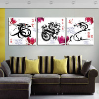 Wholesale Traditional Chinese Dragon Painting - Unframed Home decoration 3 Pieces art picture free shipping Canvas Prints Chinese Dragon Totems Wooden pier flower potted flower Plum rose