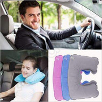 Wholesale Head Rest Cushions - Inflatable Soft Flight Travel Car Head Neck Rest Compact Travel Flight Car Pillow Inflatable Pillow Neck U Rest Air Cushion CCA4962 1000pcs