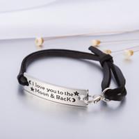 Wholesale I Toggle Bracelet - Personalized Design I Love You To The Moon And Back Charm Leather Bracelet Inspirational Jewelry Gift