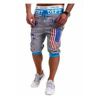 pantalones de bandera al por mayor-Al por mayor-Hombres Deportes EE. UU. Bandera de la impresión de verano Harem Training Dance Baggy Jogger Casual Shorts Pantalones Pantalones Negro Gris Azul M-XXL