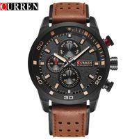 Wholesale Curren White - CURREN brand top new fashion casual quartz wrist watch men leather relojes strap round Quartz Water Resistant 8250