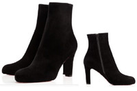 Wholesale Leather Thick Heel Boots - Black suede Red Bottom Ankle Boots Thick 85mm heel comfort Boots Miss Tack Booty'