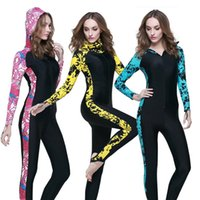 Wholesale Wetsuit Womens - Womens Swimwear Wetsuit One Piece UPF50 Swimming Snorkeling Surfing Sports Clothing Rashguard Hooded Wetsuit Women Diving Suit Swimsuit