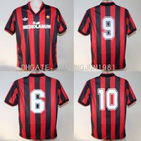 Wholesale Milan Retro - 91 92 AC Milan Retro van Basten Gullit Maldini Soccer Jersey Throwback 1991 1992 Italia Baresi Vintage classical Football Shirts