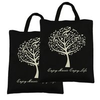 Wholesale Pure Cotton Handbag Shopping bags Music Tree Cotton Bag Black