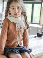 Wholesale Brown Child Cardigan - Big girls sweater cardigan kids lace single breasted long sleeve coat children double pocket princess tops kids sweater outwear R0242