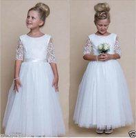 Wholesale pure white flower girl dresses - Jewel 1 2 Long Sleeves Lace White Ankle Length A Line Ribbon Cute Pure Wedding Dresses Flower Girl Dresses Party Dresses