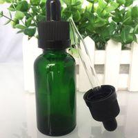 15 ml de garrafas de óleo essencial verde venda por atacado-Atacado- 800pcs garrafas de conta-gotas de vidro verde 30ml com conta-gotas de borracha preta frasco de óleo essencial de vidro 5ml 10ml 15ml 50ml