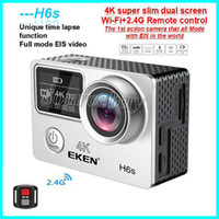 Wholesale electronics degrees resale online - High Quality EKEN H6S Sport Camera Dual Screen Full Mode EIS Video K WIFI Super Lens Waterproof Action Cameras