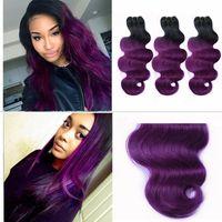 cheveux brésiliens violet foncé achat en gros de-Pas cher vente 1b violet foncé racine ombre brésilienne corps vague ondulée deux tons cheveux humains tissage extensions de trame 3 pcs lot DHL livraison gratuite