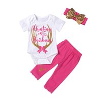 горячая розовая одежда дети оптовых-Mikrdoo Baby Hot Christmas Clothes костюмы дети девушка олень охота ползунки розовый кружева брюки оголовье 3шт наряды сладкий топ хлопок милый набор 0-24 м