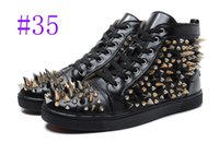 Wholesale Lime Green Color Dresses - Hot Sale Black Red Genuine Leather Casual High Top Shoes Fashion Multi Color Rivets Spikes Shoes Men Bottom Flats Spiked Dress Shoes Boy