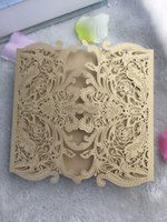 Wholesale Crafts Invitations - 50pcs Wedding Party Decoration Paper Craft Invitation ,Baby Shower  Birthday Party Greeting Cards ,Laser Cut Wedding Invitation