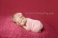 Wholesale Purple Colour Photo - Newborn baby photography props wraps stretchy 150*35cm baby girl boy photo wrap knitted
