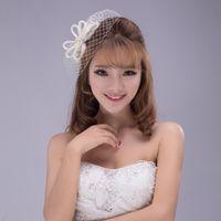 Wholesale Elegant Hair Bows - 2016 New Wedding Bridal Hat Handmade Linen Birdcage Veil Vintage Elegant Beige Tulle Gauze Bow-knot Hair Headdress Accessories