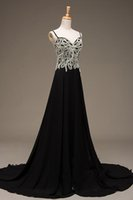 Wholesale Sexy Chiffon Dre - Vintage Real Pictures Black Prom Dress Long 2017 Spaghetti Strap Beading Zipper Backless Back Beach Chiffon Party Formal Evening Dre