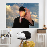 Wholesale Hand Painted Oil Reproductions - ZZ2027 The Son of Man by Rene Magritte Belgian Hand painted Oil Painting Reproduction Replica Copy Wall Art Canvas Painting Bedr