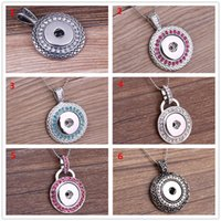 Wholesale Jewerly Gifts - 6 colors NOOSA Colors metal Ginger Snap Button Pendants Necklace with Crystal Jewelry Interchangeable Jewerly A045