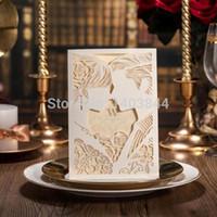casal de cartões de casamento venda por atacado-Atacado - Cartão de Convite de Casamento com Corte a Laser, Love New Couple CW010