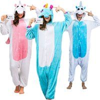 Wholesale unicorn adult onesie - Unicorn Onesie Adult Pajamas Sleepwear Cosplay Halloween Costumes Animal Onsie for Women Men Pink Blue Sleepsuit Unisex