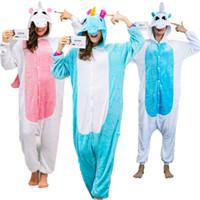 Wholesale xl adult animal women costumes online - Unicorn Onesie Adult Pajamas Sleepwear Cosplay Halloween Costumes Animal Onsie for Women Men Pink Blue Sleepsuit Unisex
