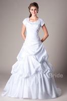 Wholesale Modest Taffeta Wedding Dresses - Vintage White Ball Gown Taffeta Modest Wedding Dresses Cap Sleeves Queen Anne Neck Pick Ups Castle Bride's Lace Up Ceremoney Dresses