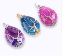 ingrosso pendente di gemma blu-Fashion Gold Color Albero della vita Wire Wrap Water Drop Collana Pendant Reiki Natural Gem Stone Viola Blue Veins Onyx Jewelry E806